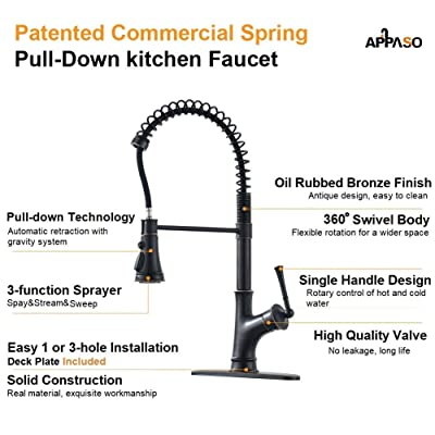 Buy Appaso Commercial Oil Rubbed Bronze Single Handle Pull Down Kitchen Faucet With 3 Mode Sprayer Antique Spring High Arc Kitchen Sink Faucet With Deck Plate Online In Turkey B07pjbc3fk