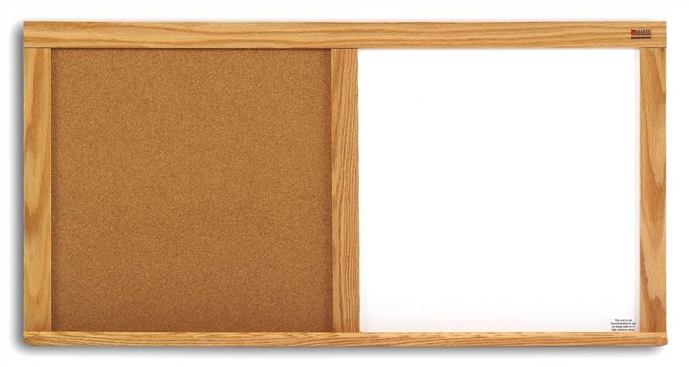 Natural Cork & Whiteboard Combo w Oak Trim (24 in. x 36 in.)