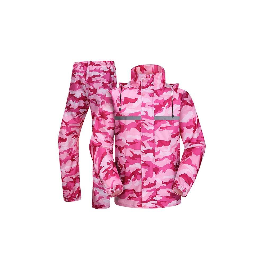 rose grand KANGSHENGimpermeable Pantalon de Pluie imperméable vélo Ensemble Corps Adulte imperméable rembourré Split vêteHommests imperméables, Mode Camouflage Double Capuchon détachable (Couleur   rose, Taille   L