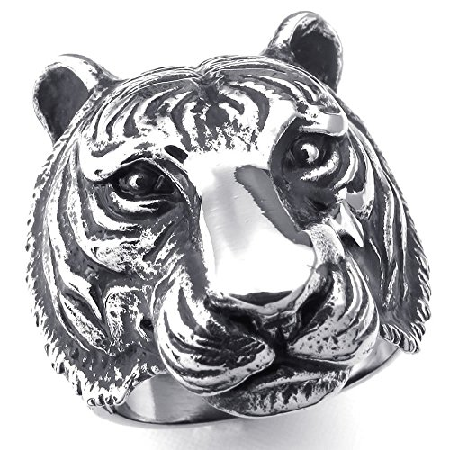 KONOV Jewelry Mens Stainless Steel Ring, Gothic Tiger, Black Silver, Size 12