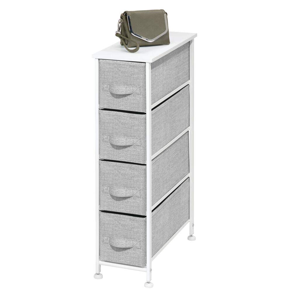 mDesign Narrow Vertical Dresser Storage Tower - Sturdy Metal Frame, Wood Top, Easy Pull Fabric Bins - Organizer Unit for Bedroom, Hallway, Entryway, Closet - Textured Print, 4 Drawers - Gray/White by mDesign