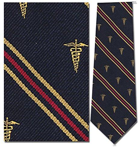 Doctors Necktie - 100% Silk Navy Blue Stripe Caduceus Medical Doctor Necktie Tie Neckwear
