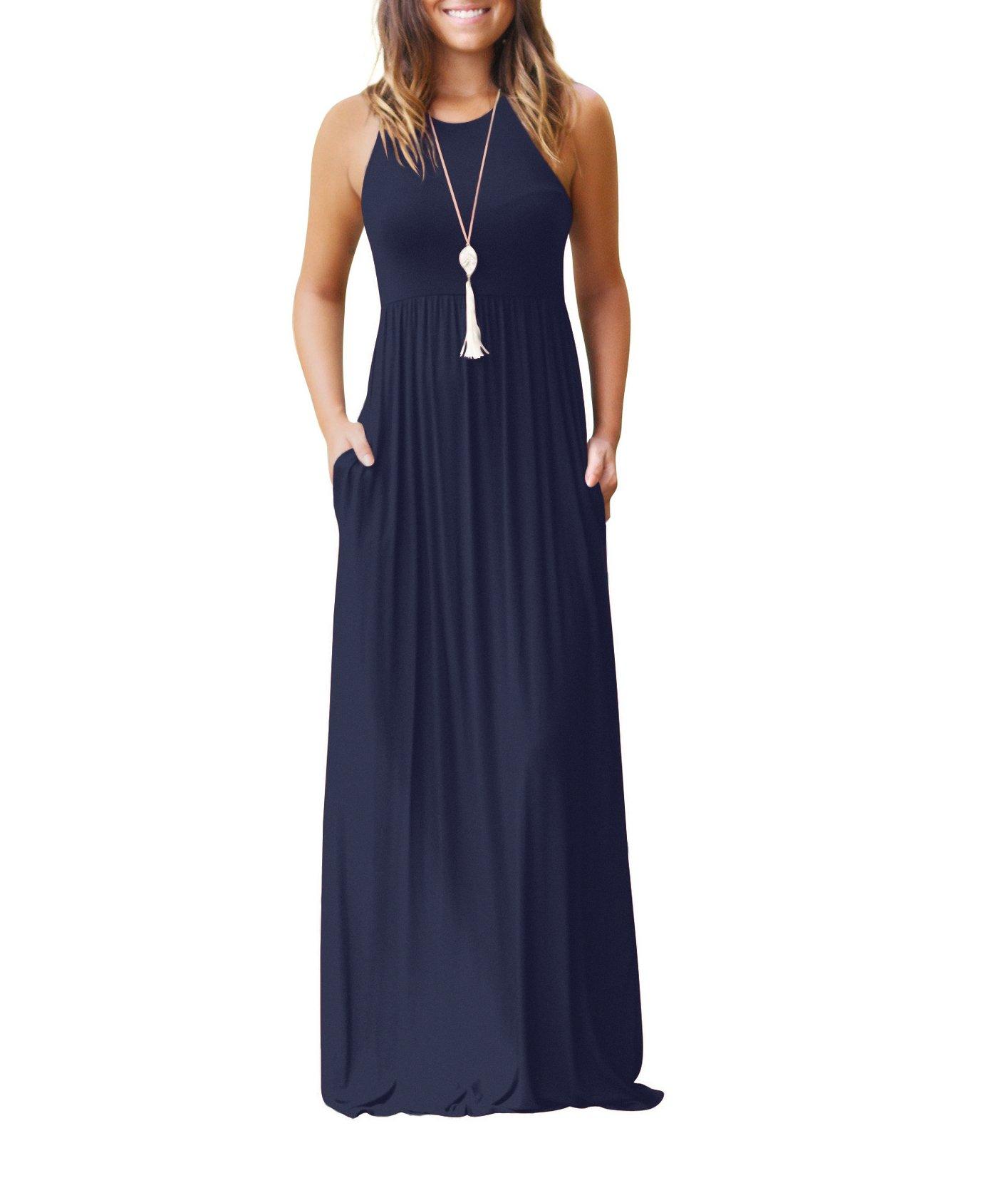 AAMILIFE Women's Sleeveless Racerback Casual Loose Plain Long Maxi Dresses with Pockets Navyblue XL