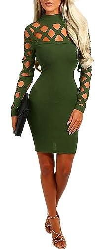 Ybenlow Women's Cut Out Caged Bodycon Bandage Club Dress