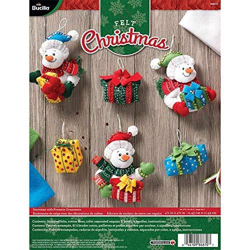 Bucilla 86870 Felt Ornaments Applique Kit, Snowman with Presents