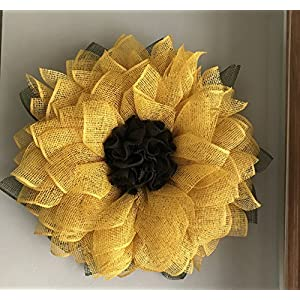 Yellow Sunflower Poly Burlap Mesh Front Door Spring Summer Welcome Country Wreath 3