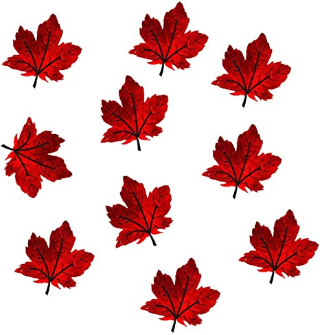 Red//Orange Leaves Embroidered Iron On Patch Autumn Crafts Fall