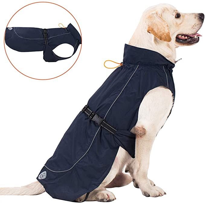 PROPLUMS Dog Raincoat Adjustable Lightweight Jacket with Reflective Straps Buckle and Harness Hole Best Gift for Large Medium Small Puppy Dog[ Navy Blue, XL] best dog raincoat