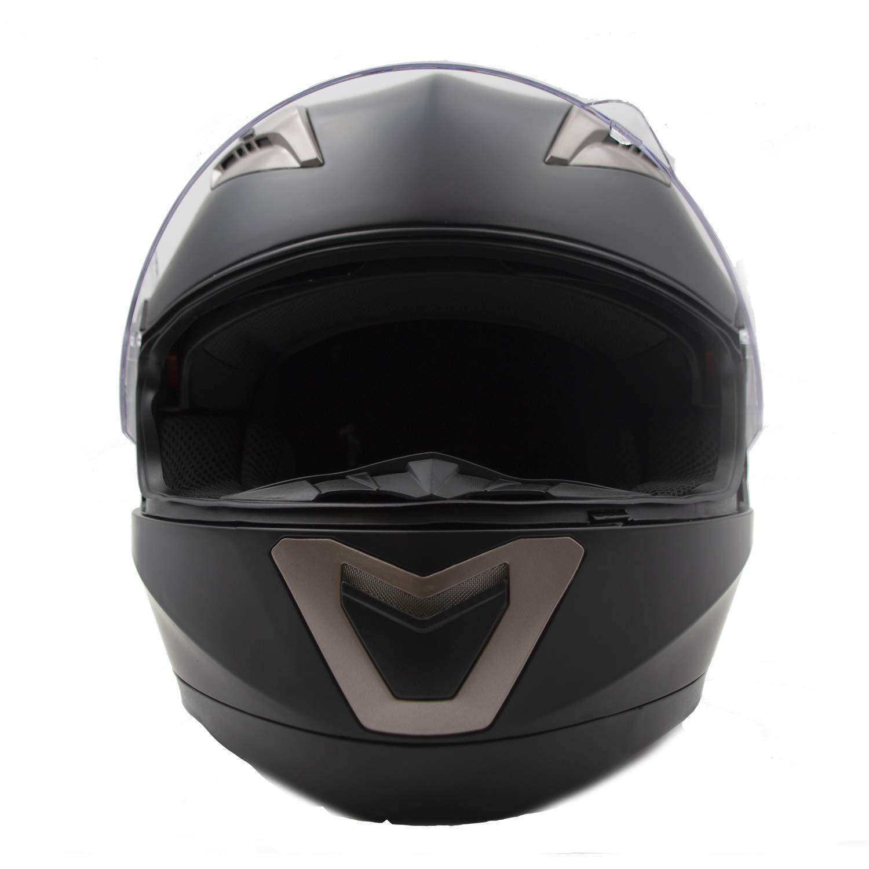 M, Bianco Caschi Integrali con Spazio per Bluetooth Doppia Visiera Parasole Nat Hut Casco Integrale Moto ECE Omologato