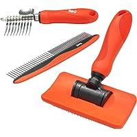 Benz Dog Grooming Tools Kit – Slicker Brush, Dematting Rake Tool & Metal Dog Comb, Pet Grooming Kit, Professional Dog…