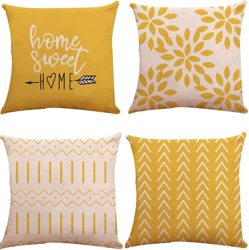 Pillow Covers 18x18 inch Set of 4, Modern Sofa Throw Pillow Cover, Decorative Outdoor Linen Fabric Pillow Case for Couch Bed Car (Yellow, 18x18,Set of 4)