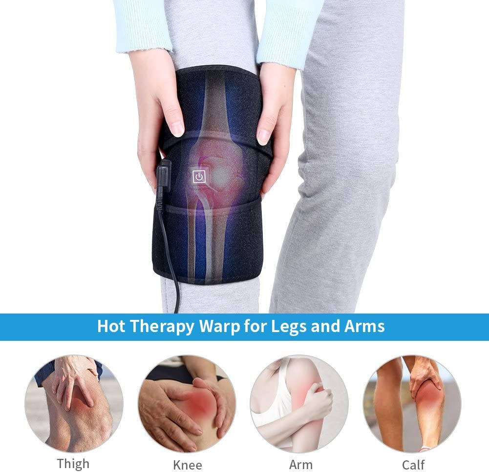 Heated Knee Pad, 1pc USB Charging Adjustable Heating Knee Brace with 3 Heat-Settings, Fast-Heating for Home Thermal Therapy Injury Recovery and Outdoor Sports Black