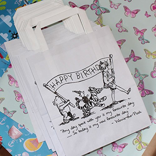Winnie the Pooh Party Bags White with Handles x 10 Happy Birthday / Gift Bags -