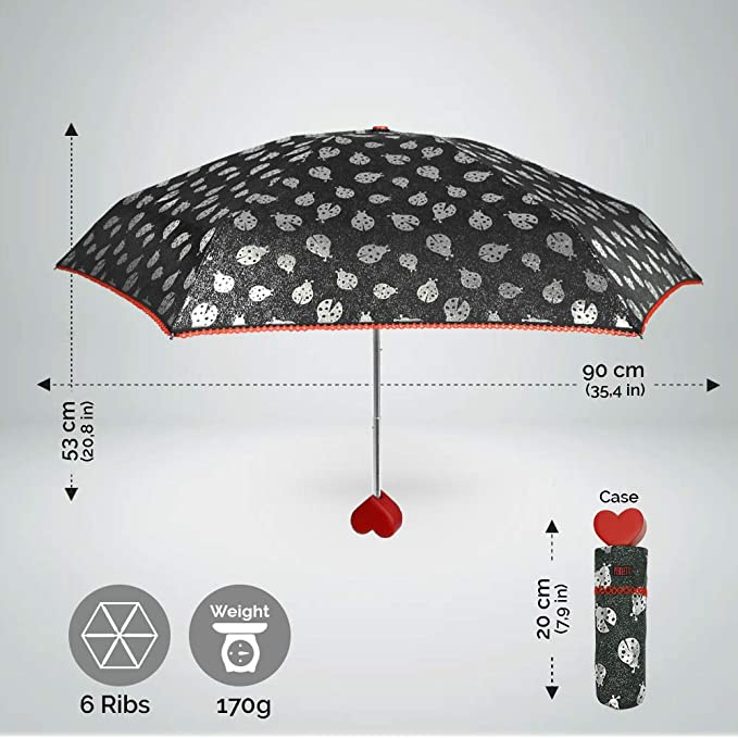 Paraguas Plegable Mariquitas con Mango en Forme de Corazón - Sombrilla Super Mini - Bordo en Ganchillo Rojo - Ligero y Compacto - Diámetro 90 cm - Negro ...