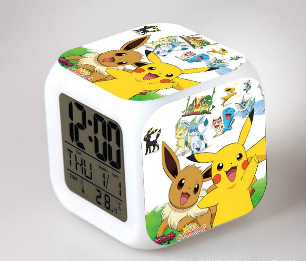 Japanese Anime POKEMON Pikachu Color Change Glowing Digital Alarm Clock AniMacaw