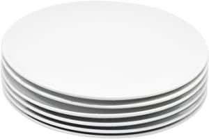 Miicol Durable Porcelain 6-Piece Salad Plate Set, Elegant White Serving Plates (8-inch lunch plates)