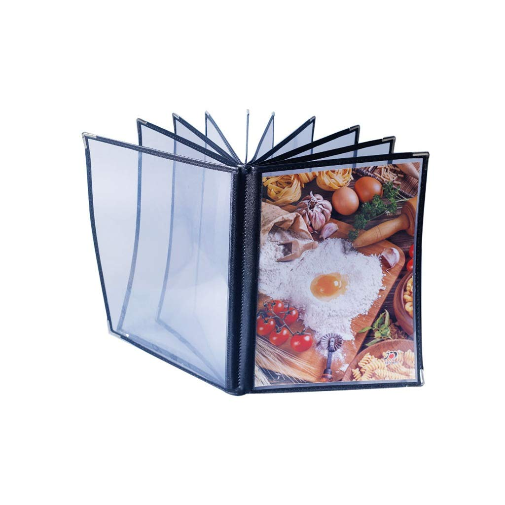 QSJY File Cabinets Hotel Recipe Book A4 Transparent PVC Insert Loop-Leaf Menu with Order Book Price List Making 10 Pages 20 Sides