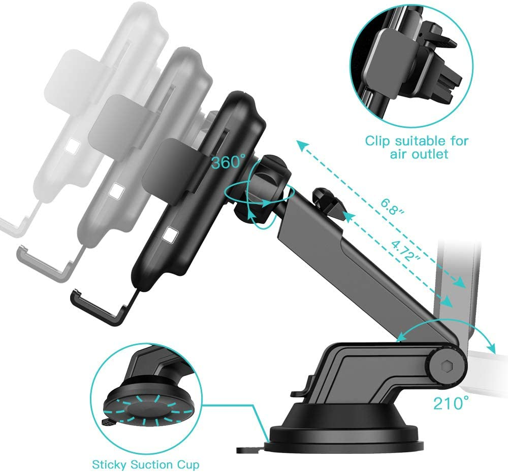 AHK Wireless Car Charger,10W Qi Fast Charging Auto-Clamping Car Mount,Windshield Dash Air Vent Phone Holder Compatible iPhone 11//11 Pro//11 Pro Max//Xs MAX//XS//XR//X//8//8+,Samsung S10//S10+//S9//S9+//S8//S8+