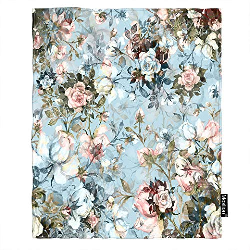Moslion Floral Throw Blanket Bouquet of Love Rose Flower Blossom Bud Leaf Spring Blanket Home Decorative Flannel Warm Travel Blankets 5060 Inch for Couch Bed Pink Green Blue