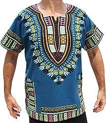 RaanPahMuang Brand Thick Muang Cotton Print African Dashiki Shirt Africa Plus, XXX-Large, Light Red