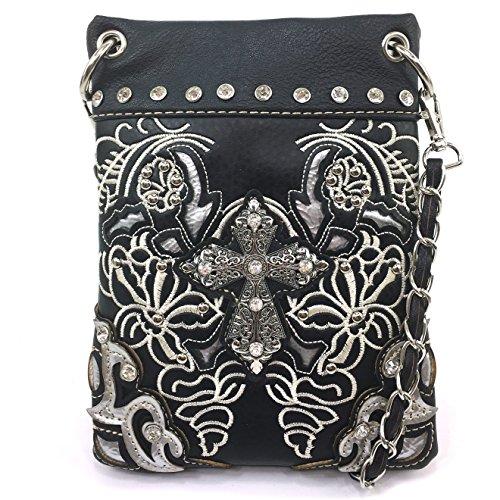 Justin West Floral Embroidery Tooled Laser Cut Rhinestone Studded Cross CrossBody Mini Handbag Phone Messenger Purse