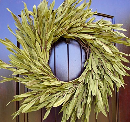 Simple Green Olive Leaf Wreath with Green and Brown Leaves in 22