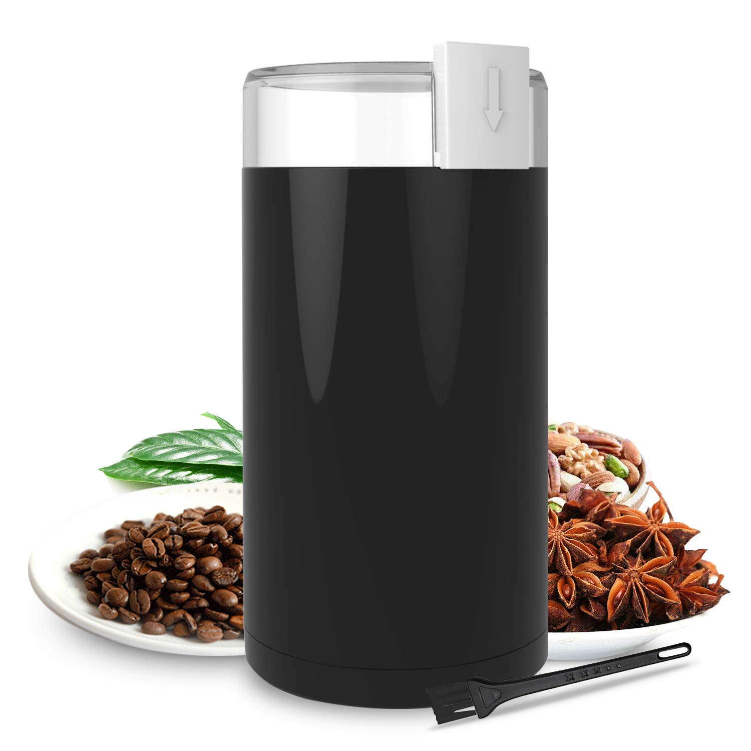 Coffee Grinder, Chytac Electric Coffee Mill 150W with Large Grinding Capacity for Peppers, Beans, Spices, Herbs, Nuts, Grains and More, Stainless Steel Blades, Black by Chytac