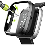 moencase Screen Protector case Compatible with Fitbit Versa 2, All Around Protective with Hard Tempered Glass and PC Case (Black Only for Versa 2)