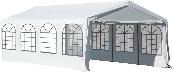 Outsunny Carpa de Jardín Cochera Gazebo 8x4m Pergola Cenador Pabellón 4 Paneles Laterales 8 Ventanas para Fiesta Eventos Bodas Acero PE Blanco