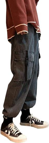 [Bestmood]ジョガーパンツ メンズ デニム ゆったり ジーンズ 厚手 ポケット付き カーゴパンツ おしゃれ ロングパンツ 防寒 ウェストゴム デニムパンツ テーパード ストリート 秋 冬