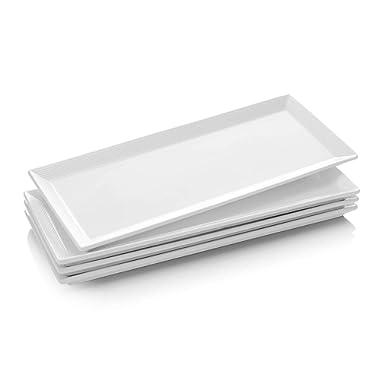 DOWAN 14.5 Inch Porcelain Serving Platters, Rectangular Plates, 4 Packs, Natural White
