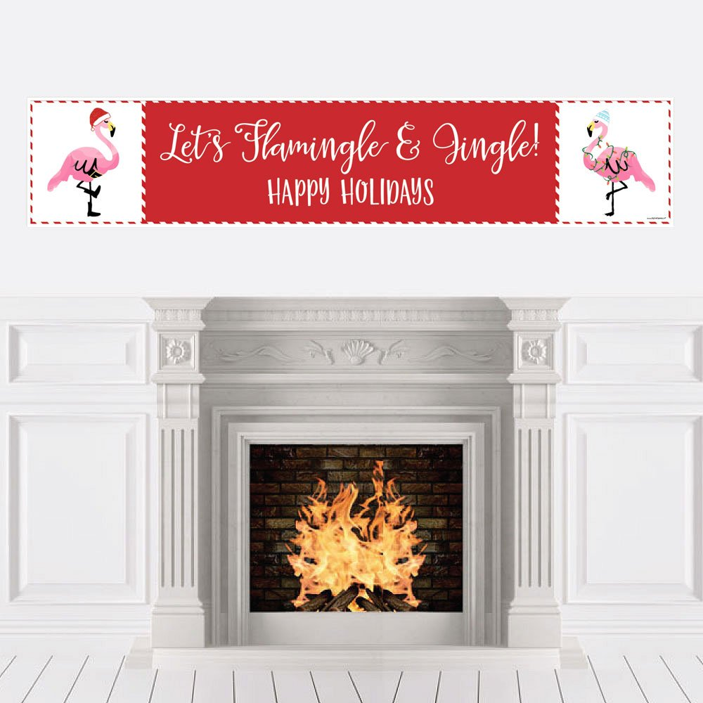 Flamingle Bells - Tropical Flamingo Christmas Party Decorations Party Banner   B076QGDBTY