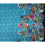 """Blue Cotton Fabric Floral Printed Designer 42"""" Wide Dressmaking Fabric By Per Yard"""