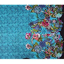 "Blue Cotton Fabric Floral Printed Designer 42"" Wide Dressmaking Fabric By Per Yard"