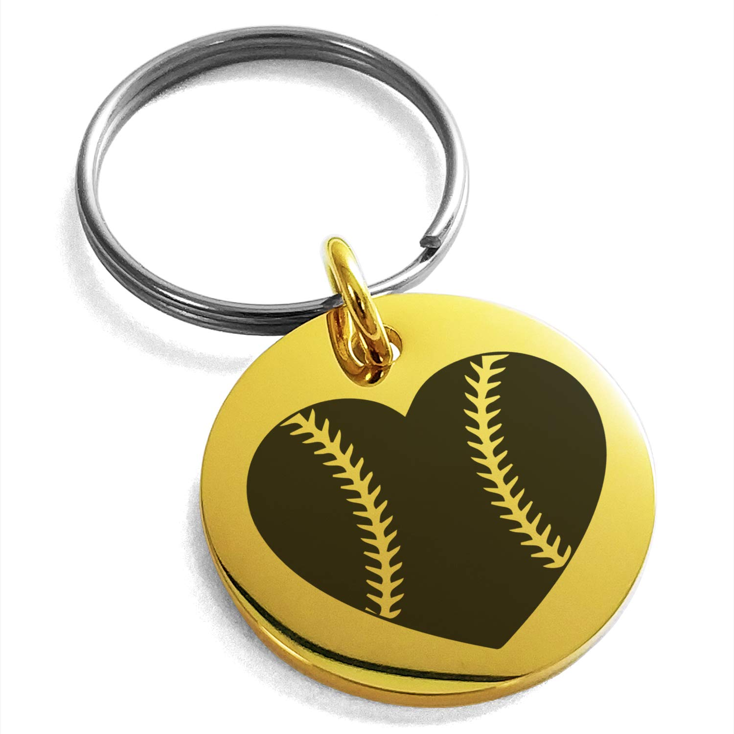 Tioneer Gold Plated Stainless Steel Love Baseball Heart Engraved Small Medallion Circle Charm Keychain Keyring