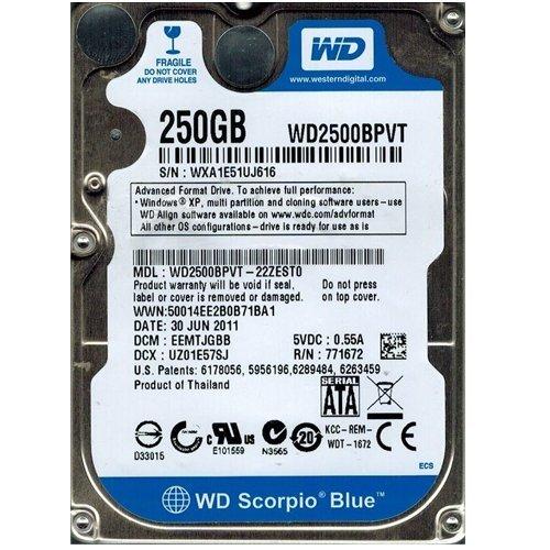 WESTERN DIGITAL WD2500BPVT Western Digital Scorpio Blue WD2500BPVT 250GB 5400RPM SATA2/SATA (Ata Notebook 8mb Scorpio 5400rpm)