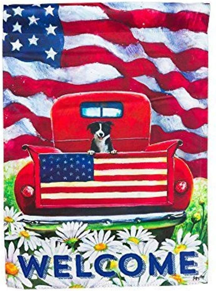 Amazon Com Gifted Living Garden Sublimation Printed Suede Patriotic Pup Truck Flag 18 X 12 5 X 0 15 Garden Outdoor