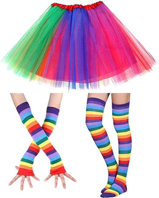 Vintage Skirts | Retro, Pencil, Swing, Boho Faylapa 1970s 1980s Fancy Outfits3 in 1 Rainbow Costume AccessoriesRainbow Tutu SkirtKnee High Socks and Long Gloves for Cosplay Party Theme Party $10.99 AT vintagedancer.com