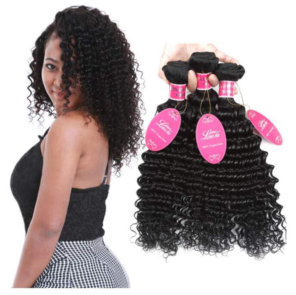 YZ-YUAN Perücken für Frauen natürlich sehende Glueless braun Wavy echtes Hairpiece für Ladies Costume Cosplay Halloween Party  161820inch