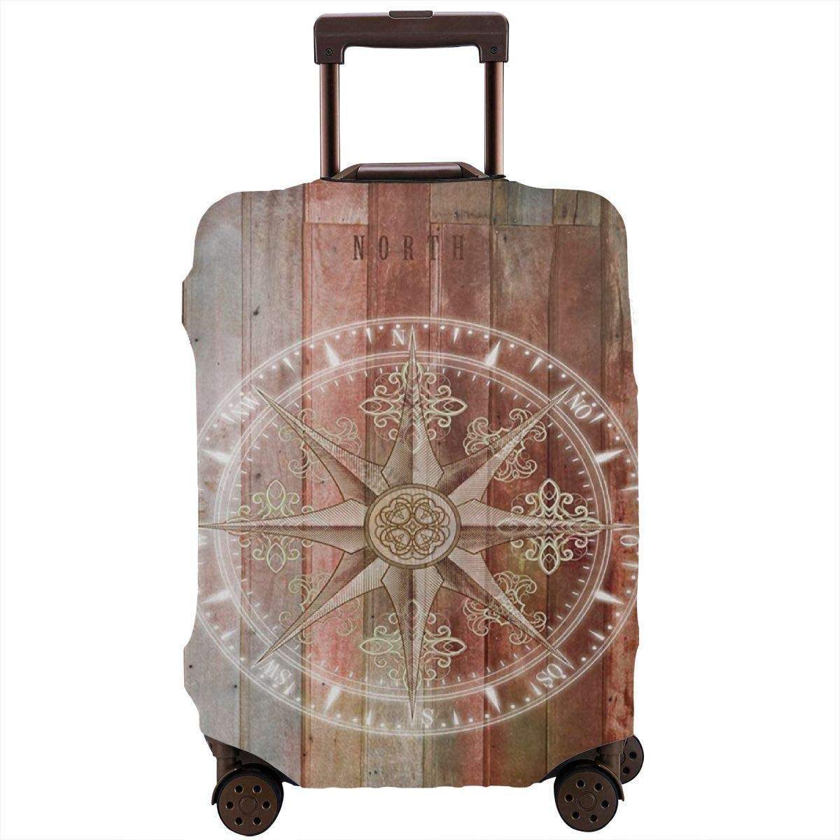 Luggage Cover Rustic Wooden Compass Vintage Protective Travel Trunk Case Elastic Luggage Suitcase Protector Cover