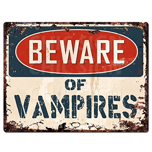 Beware Of VAMPIRES Chic Sign Vintage Retro Rustic 9