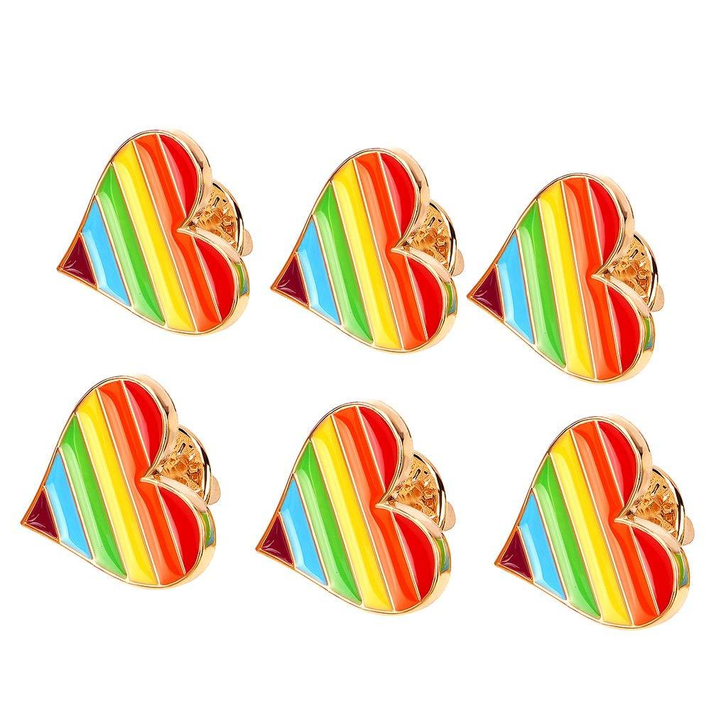 Tacobear 6 x Rainbow LGBT Gay Pride Coeur d'amour Broche Badge émail Insigne de goupille de Revers Cadeau nouveauté Collectables