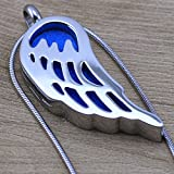 Angel Wings Design Essential Oil Diffuser Necklace Aromatherapy Jewelry, Stainless Steel Pendant Locket (20''-22'') by Lademayh