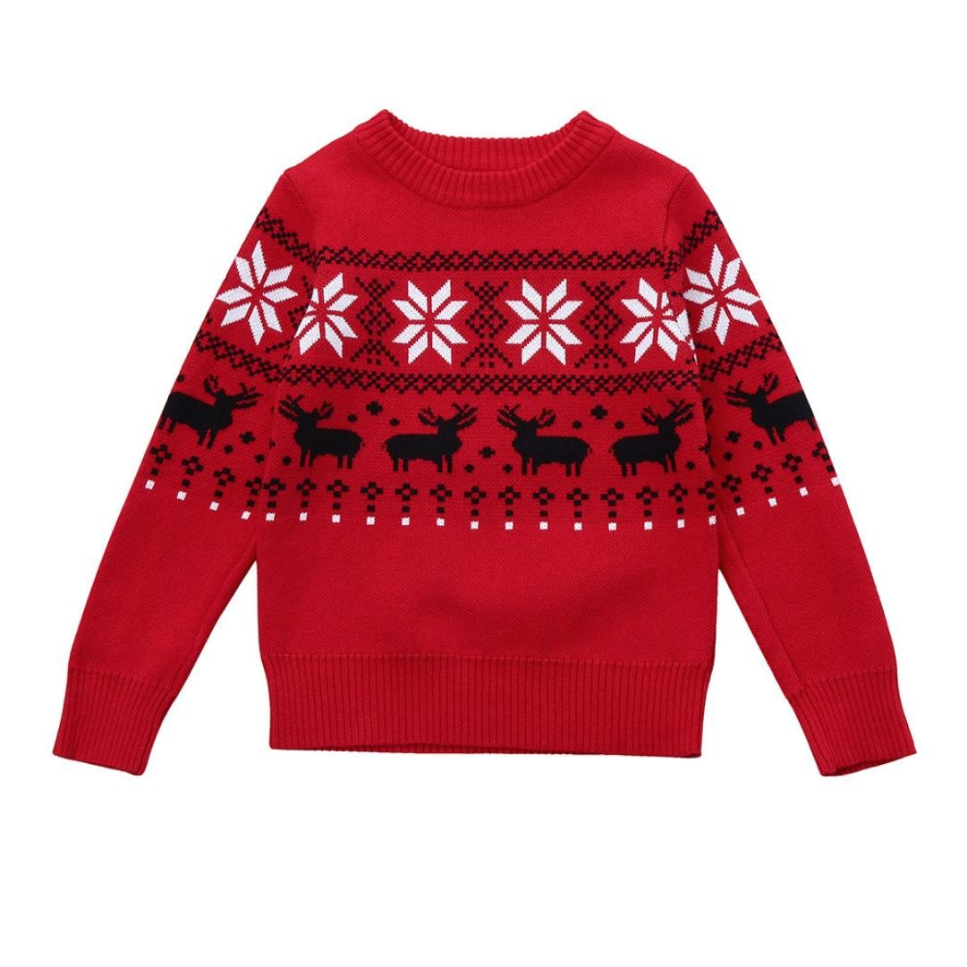 FEITONG Toddler Little Boys Deer Print Sweater Knit Outerwear Christmas Clothes (6Years, Red)