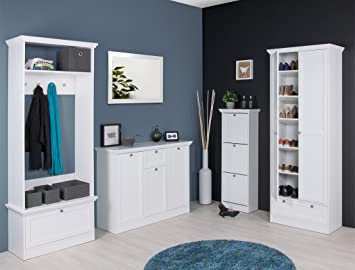 Colour blanco Garderobenset Landström 44 perchero de registro de espejo de pared con zapatero multiusos de armario de muebles de recibidor de pared con ...
