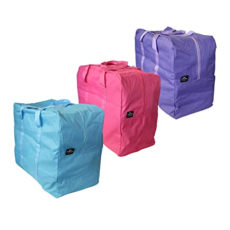 Reusable Robust Handy Versatile Tote Storing Bags for House Move Pack 3 Count Pillow Cushion Store Large Laundry Storage Zip Bag King Size Duvet Shopping Travel Bedding Clothes