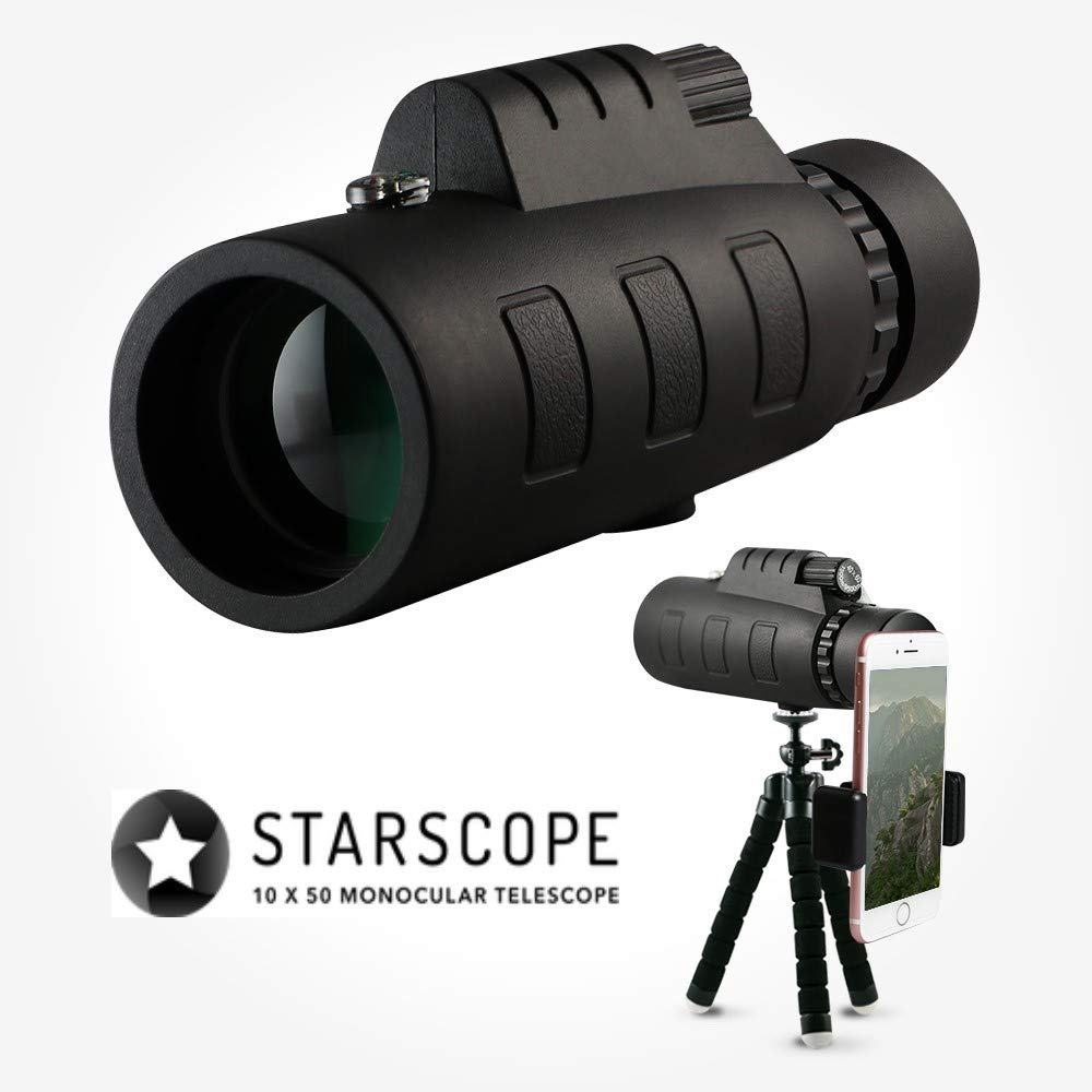 Starscope 10x50 Monocular Telescope Waterproof Fogproof Bak4 Prism with Built-in Compass for All Outdoor Activities with Smartphone Mount and Tripod