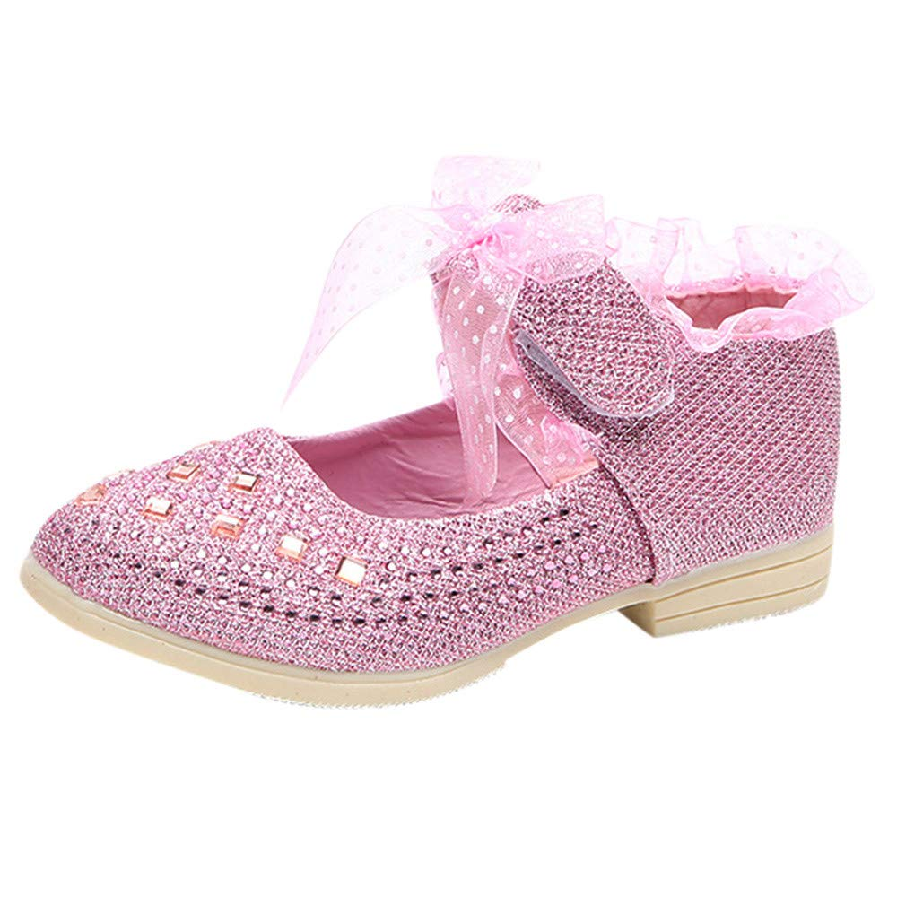 Cloudro Bbay Girl Shoes Princess Cosplay Performance Sequins Dress Shoes Low Heeled