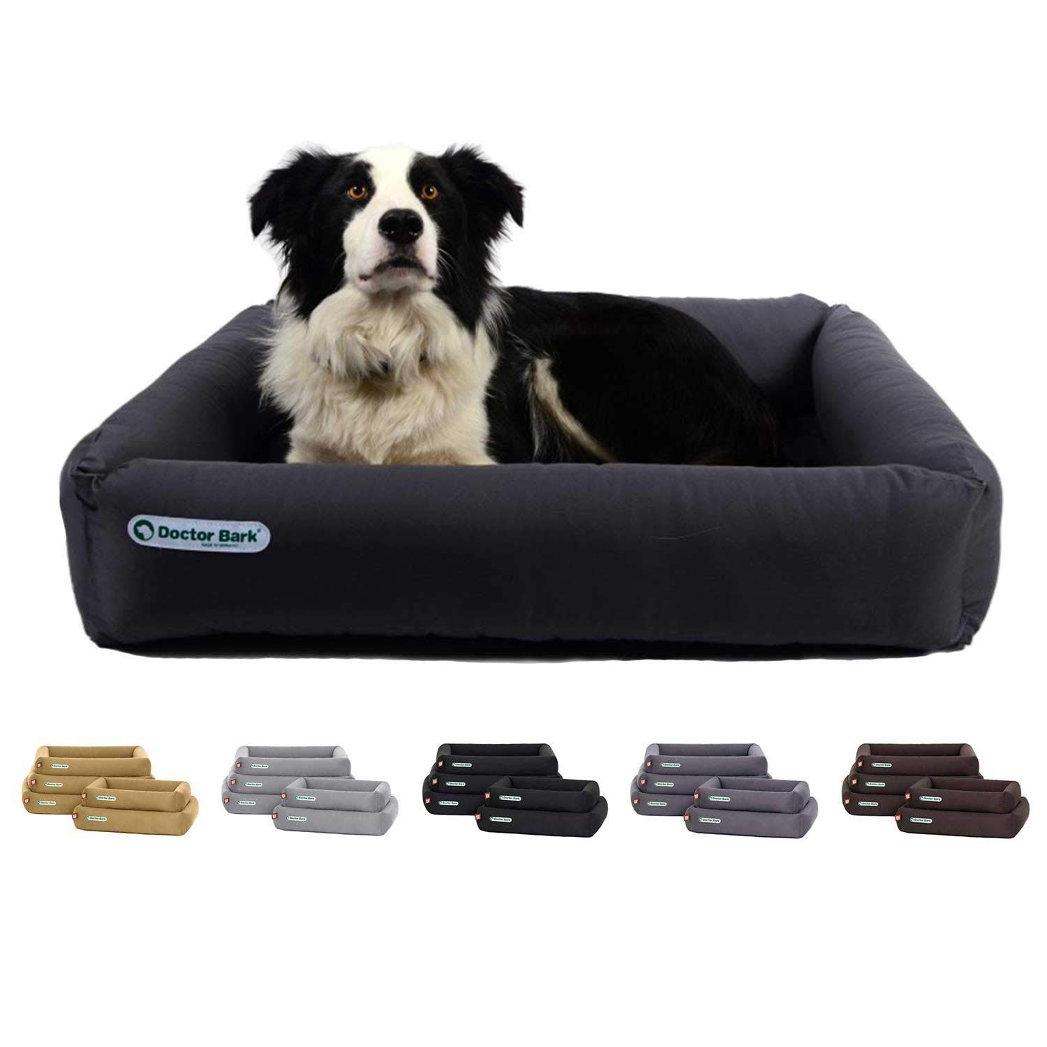 Grey Large   31x27x6\ Grey Large   31x27x6\ Doctor Bark Dog Bed Made in Germany   Deluxe Orthopedic Bed + Cushion   Washable up to 200°F   Suitable for dryers   Premium Quality   Suitable for allergics   Developed by Veterinarians