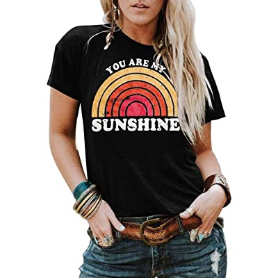 Kaislandy Womens You are My Sunshine T Shirt Short Sleeve Printed Graphic Tees Casual Summer O Neck Tops Shirts at Women's Clothing store